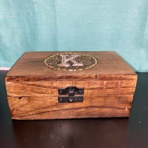 Set of 3 wood K initial storage/jewelry boxes